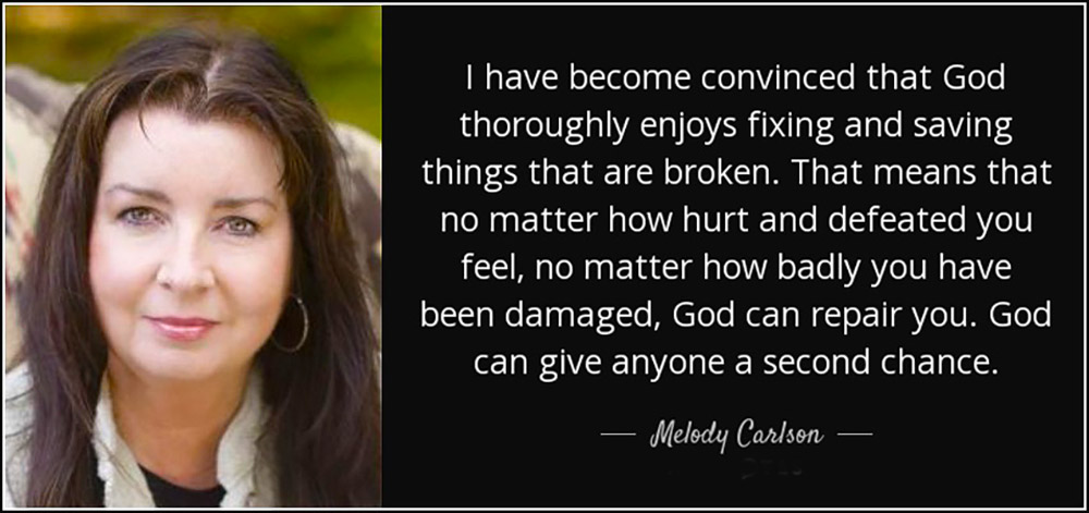 Inspirational quote about God's forgiveness by Melody Carlson